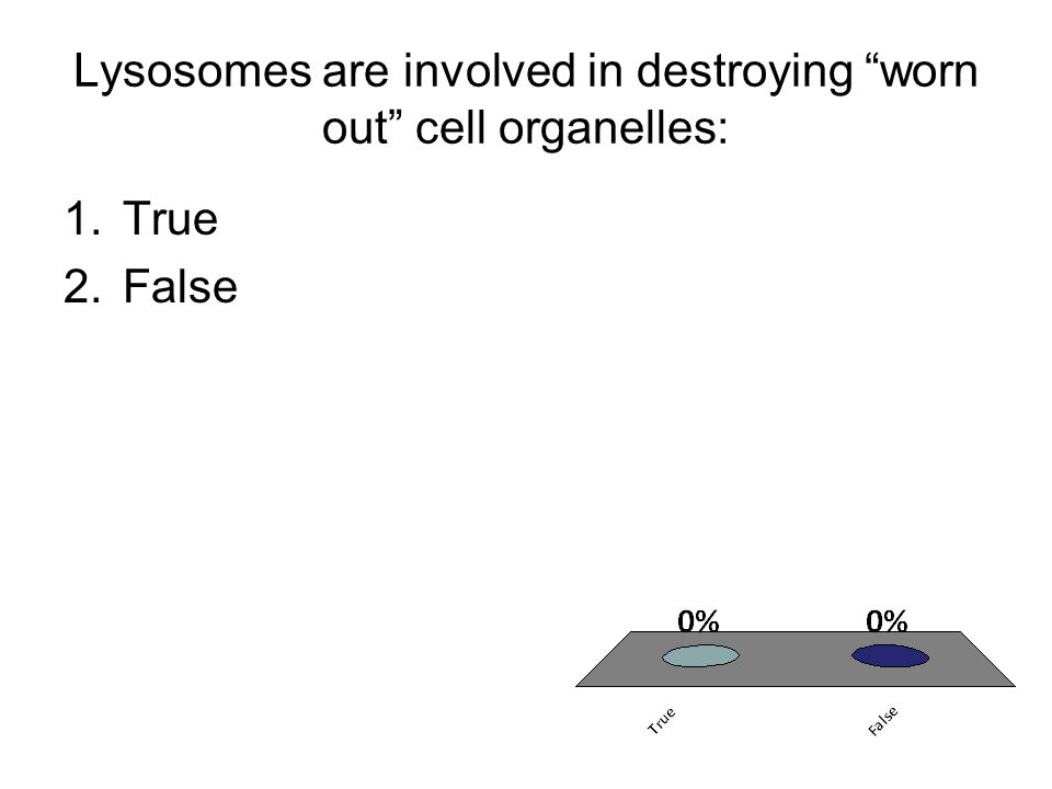 Lysosomes are involved in destroying worn out cell organelles: