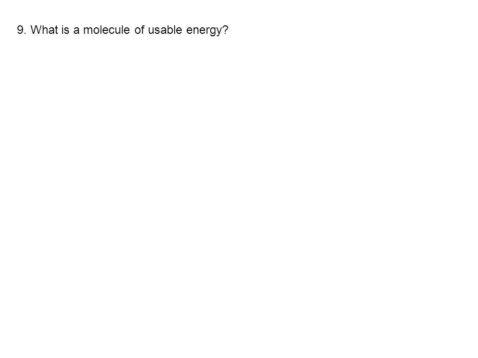 9. What is a molecule of usable energy