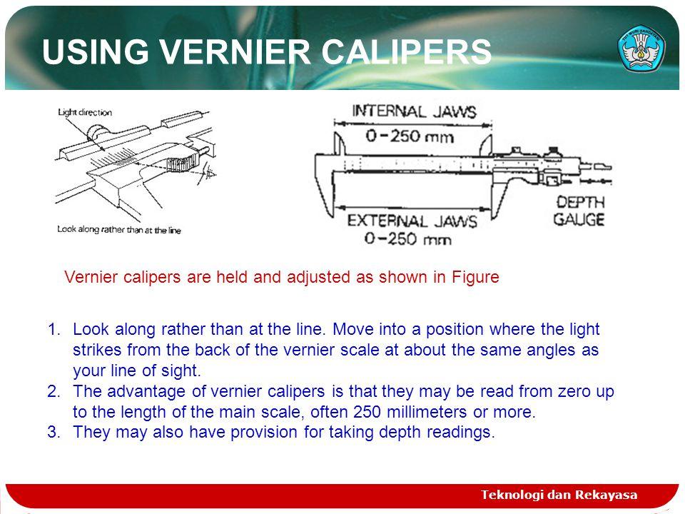 USING VERNIER CALIPERS