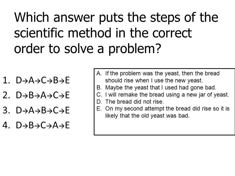 Which answer puts the steps of the scientific method in the correct order to solve a problem