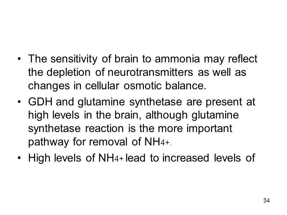 The sensitivity of brain to ammonia may reflect the depletion of neurotransmitters as well as changes in cellular osmotic balance.