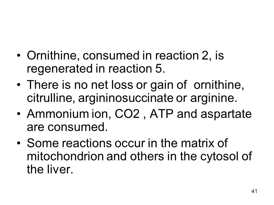 Ornithine, consumed in reaction 2, is regenerated in reaction 5.