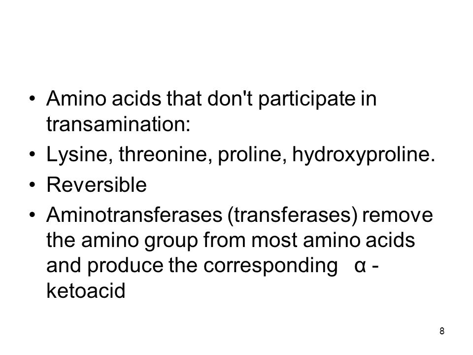 Amino acids that don t participate in transamination: