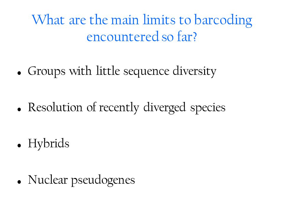 What are the main limits to barcoding encountered so far