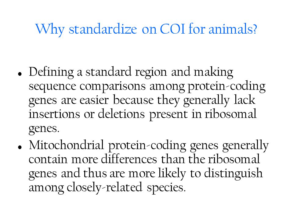 Why standardize on COI for animals