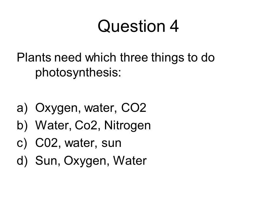 Question 4 Plants need which three things to do photosynthesis: