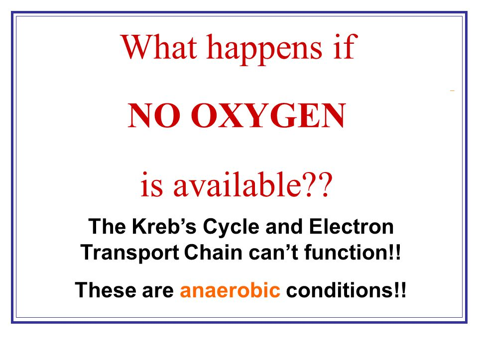 What happens if NO OXYGEN is available