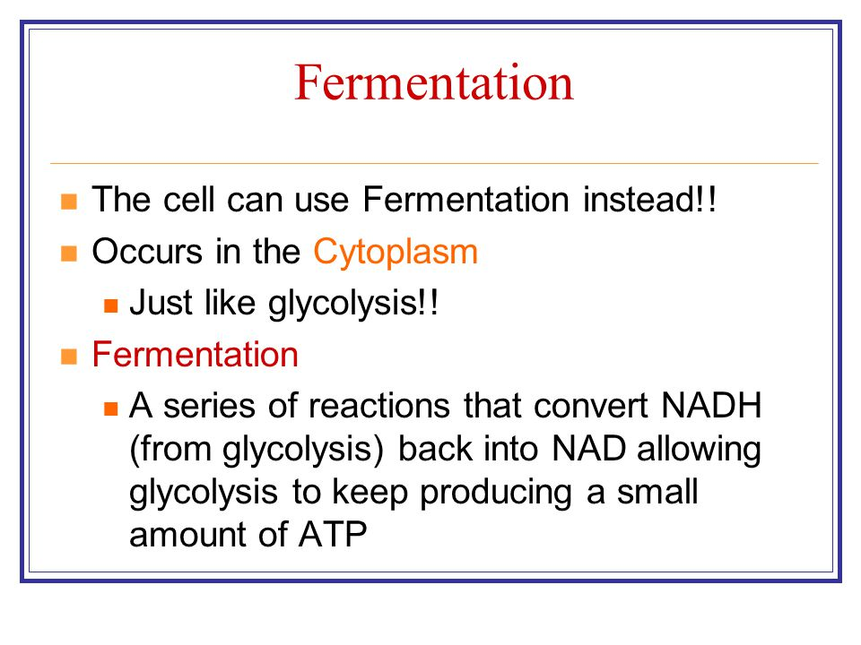 Fermentation The cell can use Fermentation instead!!