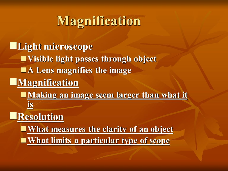 Magnification Light microscope Magnification Resolution