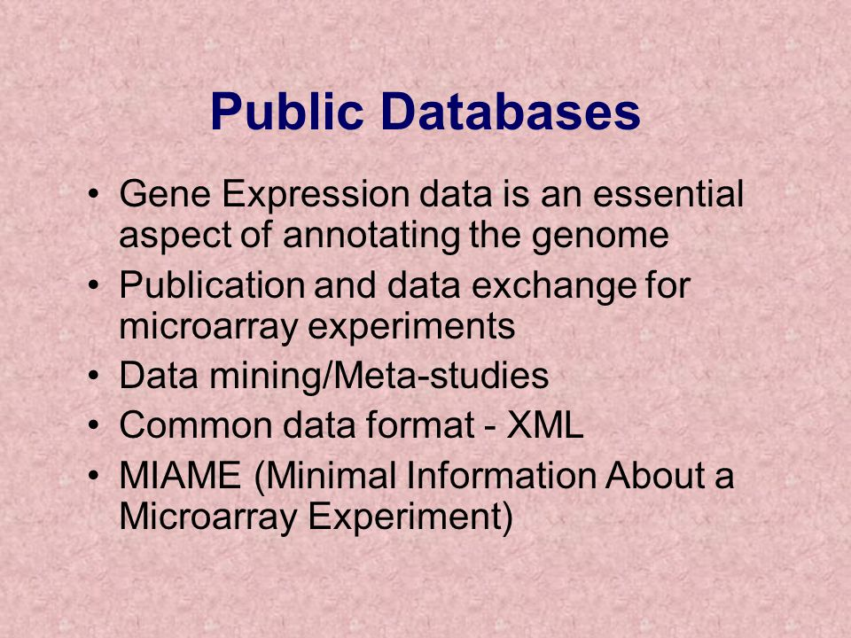 Public Databases Gene Expression data is an essential aspect of annotating the genome. Publication and data exchange for microarray experiments.