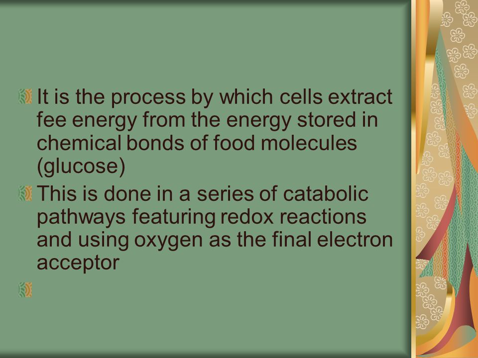It is the process by which cells extract fee energy from the energy stored in chemical bonds of food molecules (glucose)
