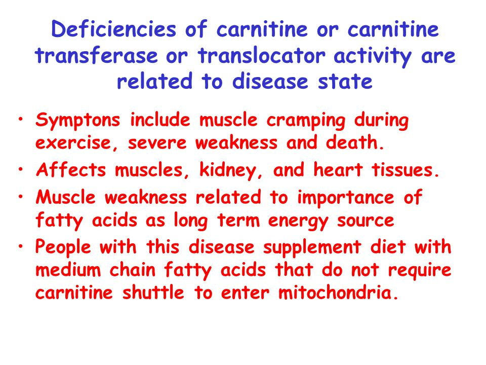 Deficiencies of carnitine or carnitine transferase or translocator activity are related to disease state