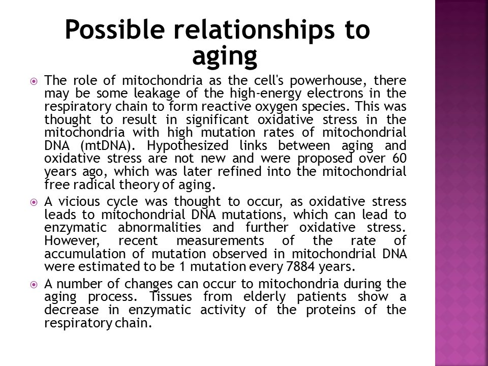 Possible relationships to aging