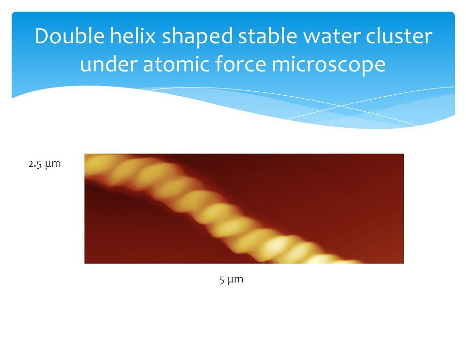 Double helix shaped stable water cluster under atomic force microscope