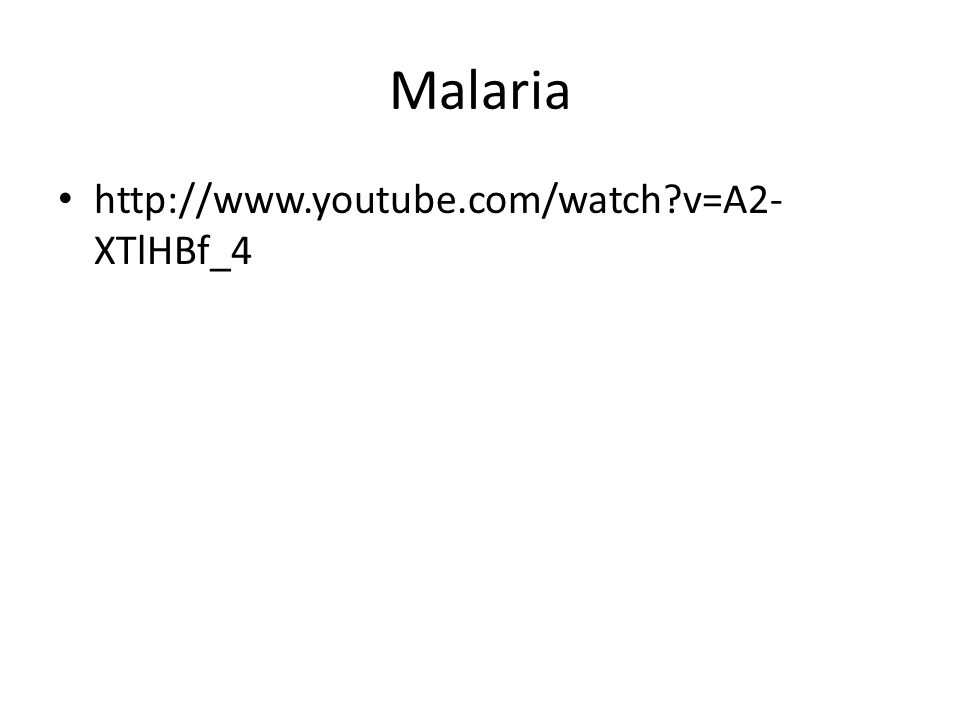 Malaria http://www.youtube.com/watch v=A2-XTlHBf_4