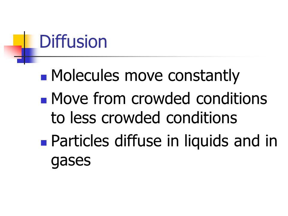 Diffusion Molecules move constantly