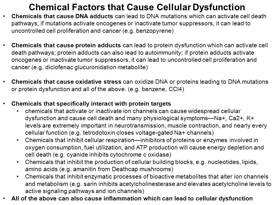 Chemical Factors that Cause Cellular Dysfunction