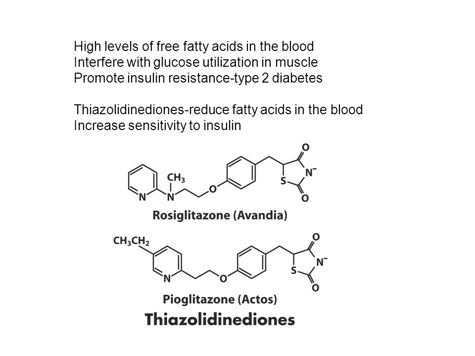 High levels of free fatty acids in the blood