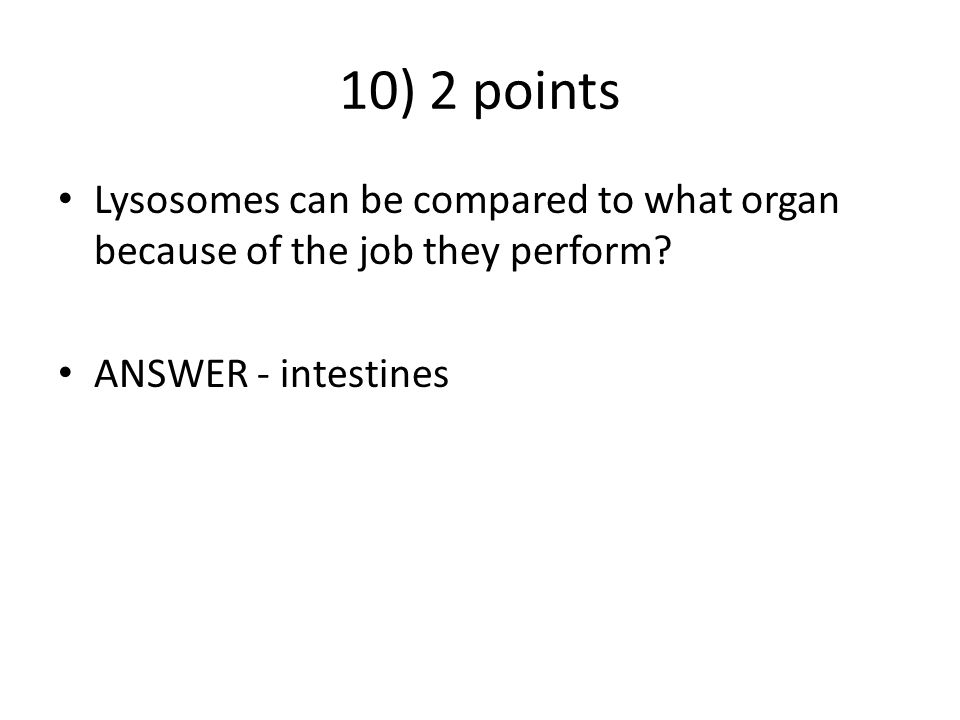 10) 2 points Lysosomes can be compared to what organ because of the job they perform.