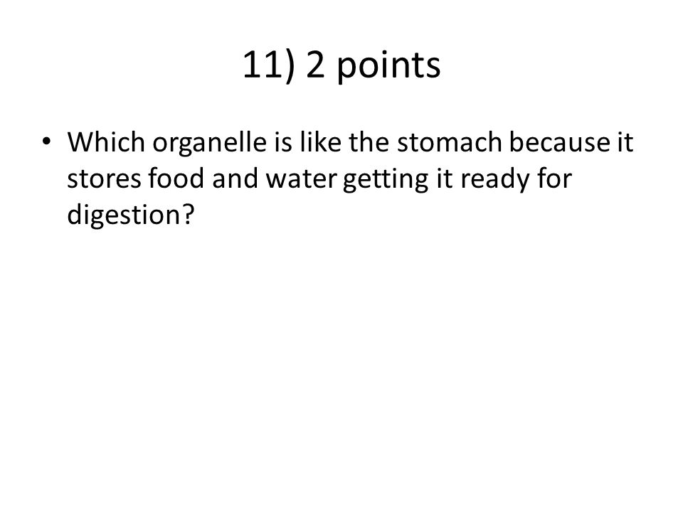 11) 2 points Which organelle is like the stomach because it stores food and water getting it ready for digestion