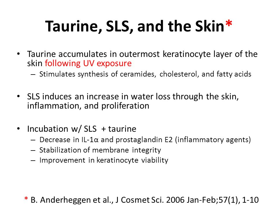 Taurine, SLS, and the Skin*