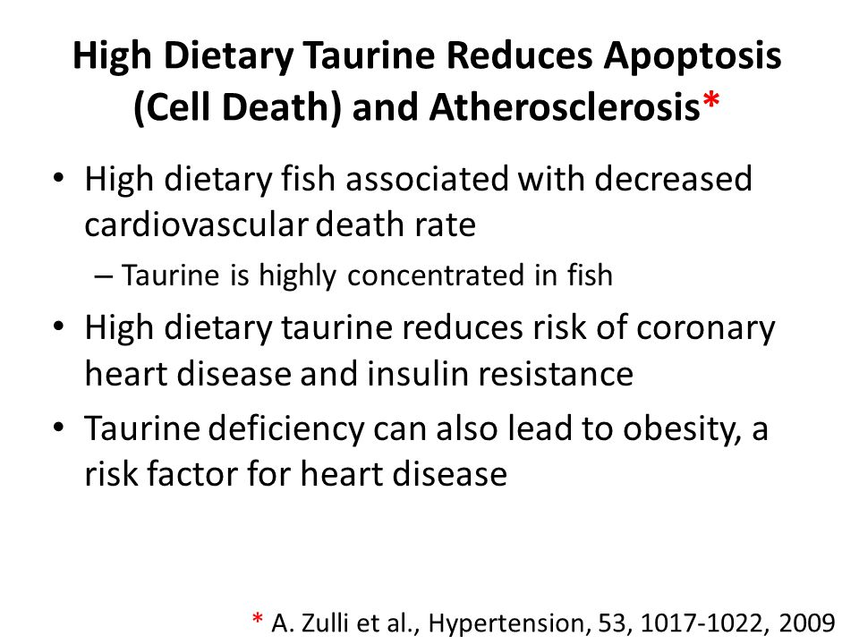 High Dietary Taurine Reduces Apoptosis (Cell Death) and Atherosclerosis*