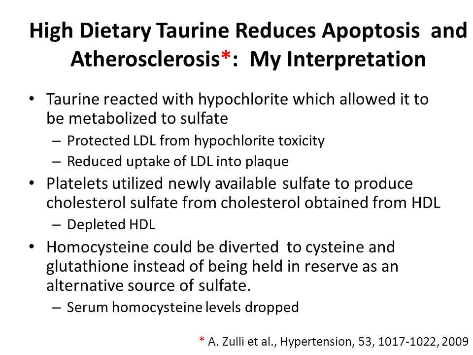 High Dietary Taurine Reduces Apoptosis and Atherosclerosis
