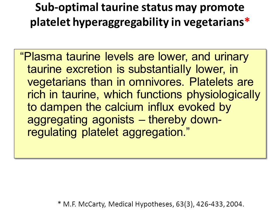 Sub-optimal taurine status may promote platelet hyperaggregability in vegetarians*