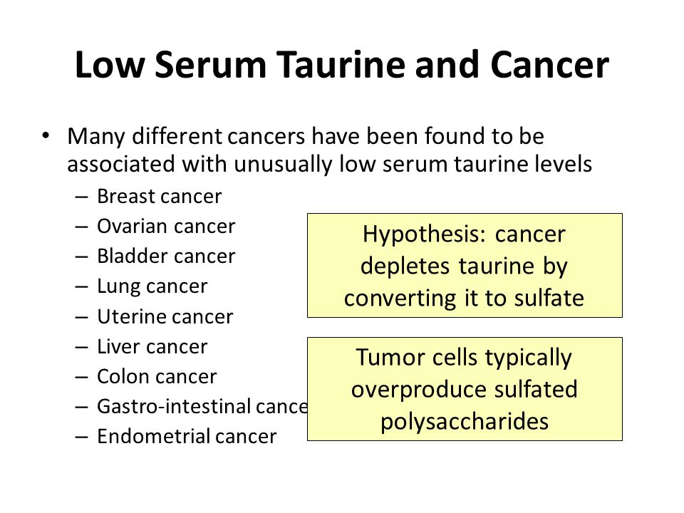 Low Serum Taurine and Cancer