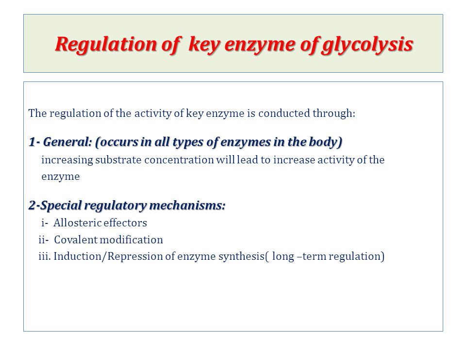 Regulation of key enzyme of glycolysis