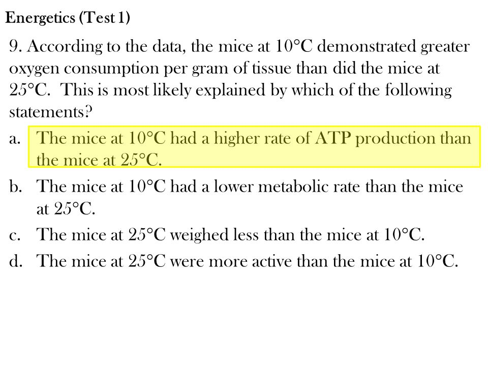 The mice at 10C had a lower metabolic rate than the mice at 25C.