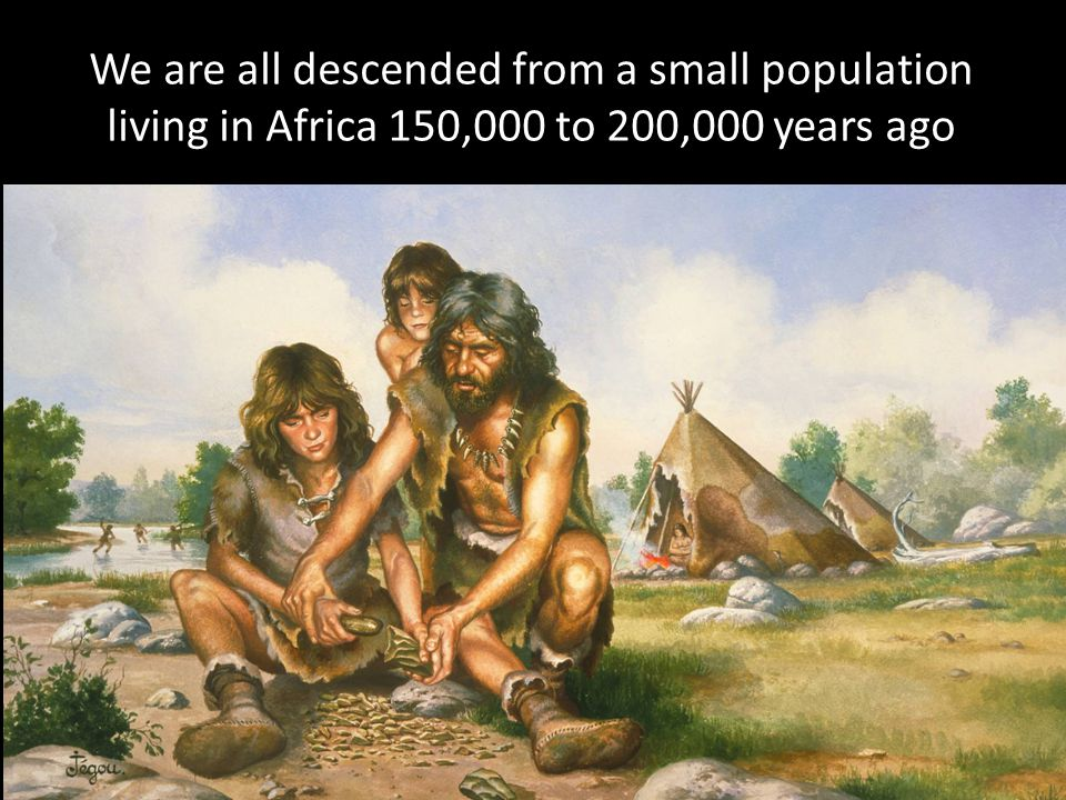 We are all descended from a small population living in Africa 150,000 to 200,000 years ago