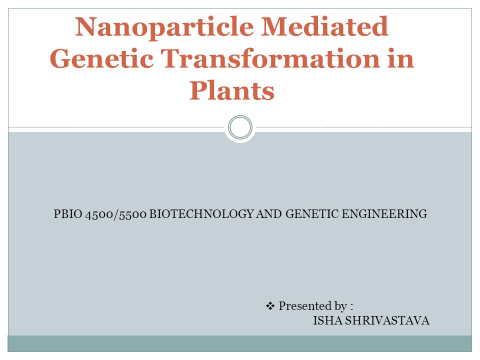 Nanoparticle Mediated Genetic Transformation in Plants