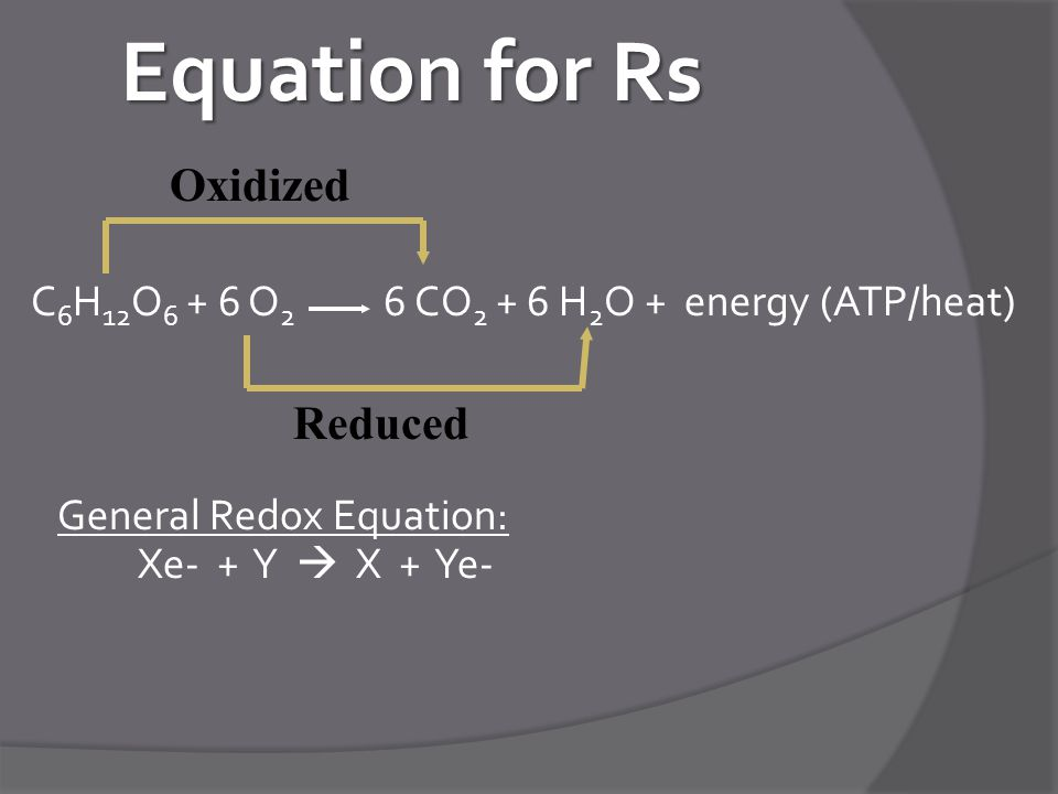 Equation for Rs Oxidized Reduced