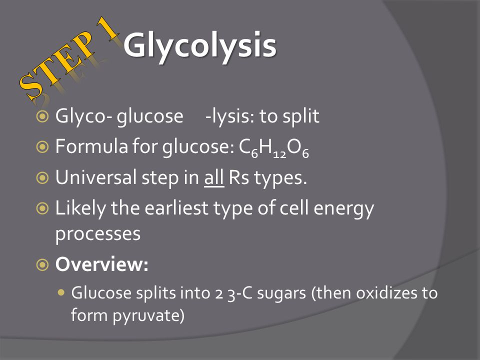 STEP 1 Glycolysis Glyco- glucose -lysis: to split