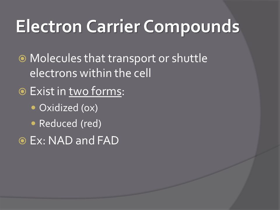 Electron Carrier Compounds