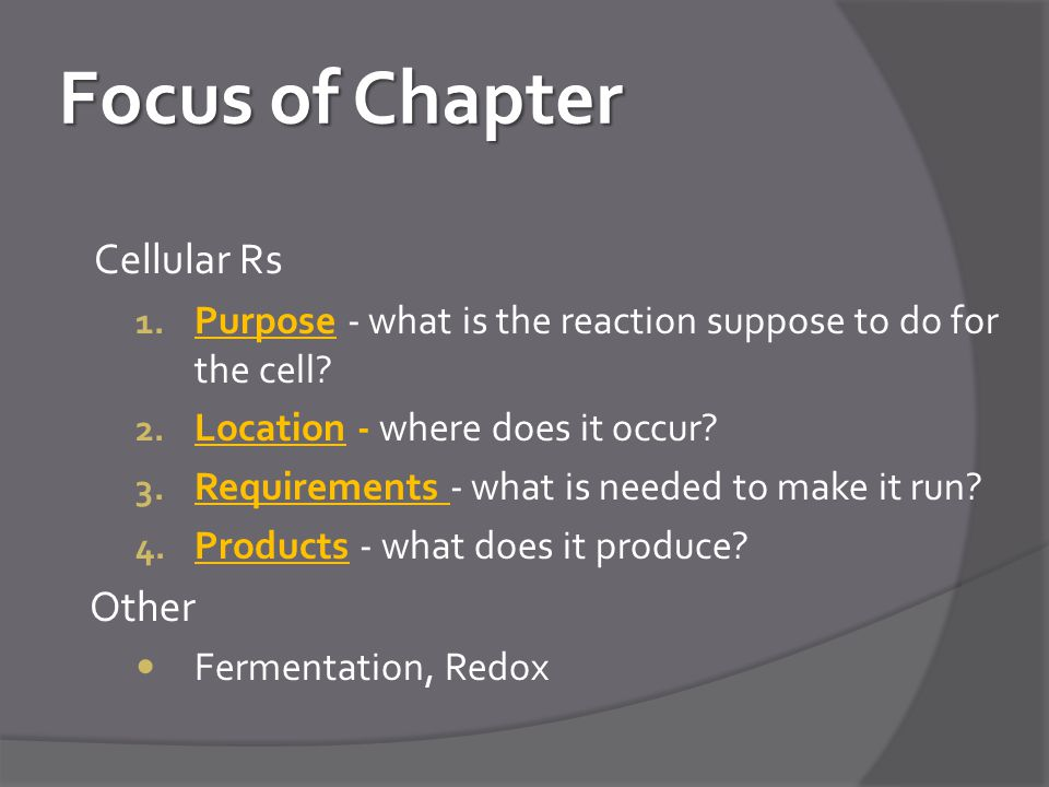 Focus of Chapter Cellular Rs Other