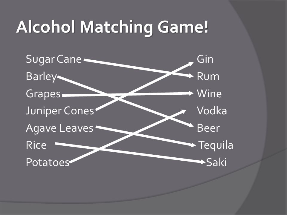 Alcohol Matching Game.
