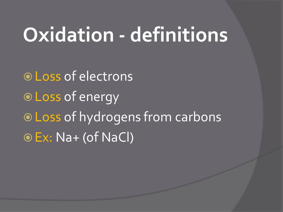 Oxidation - definitions