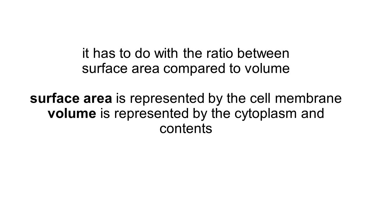 it has to do with the ratio between surface area compared to volume surface area is represented by the cell membrane volume is represented by the cytoplasm and contents
