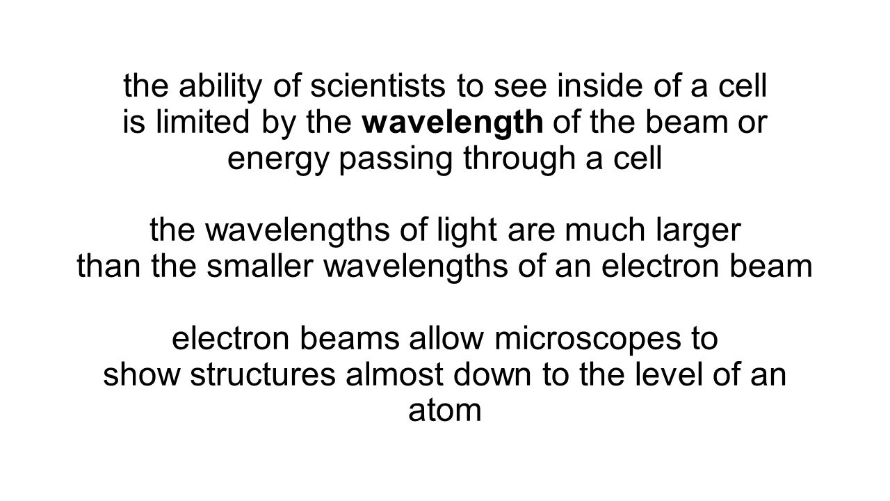 the ability of scientists to see inside of a cell is limited by the wavelength of the beam or energy passing through a cell the wavelengths of light are much larger than the smaller wavelengths of an electron beam electron beams allow microscopes to show structures almost down to the level of an atom