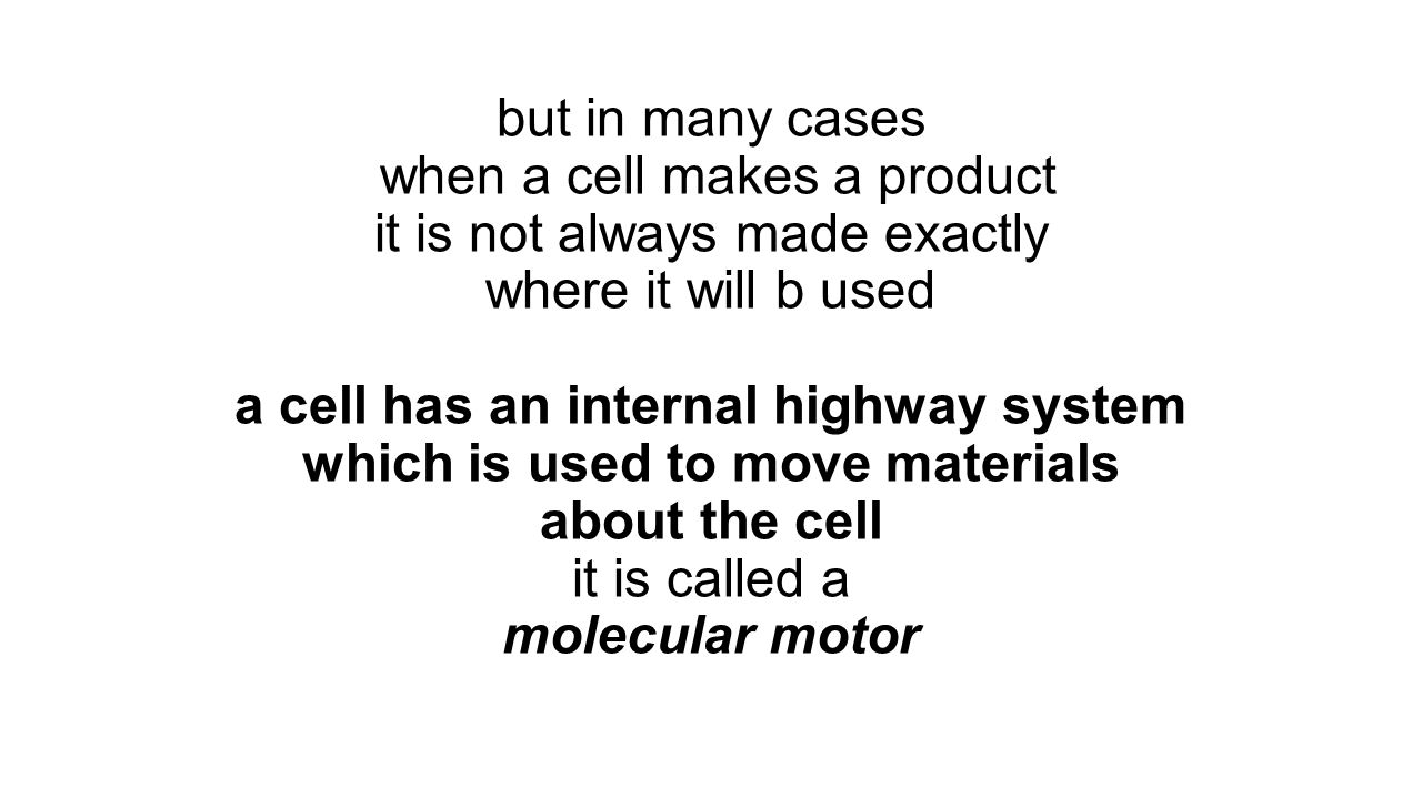but in many cases when a cell makes a product it is not always made exactly where it will b used a cell has an internal highway system which is used to move materials about the cell it is called a molecular motor