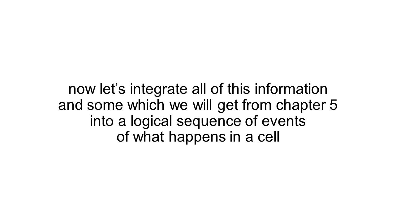 now let's integrate all of this information and some which we will get from chapter 5 into a logical sequence of events of what happens in a cell