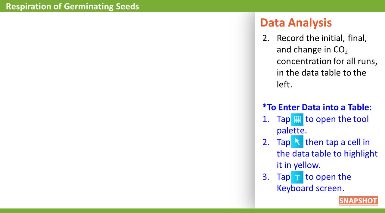 Data Analysis Respiration of Germinating Seeds