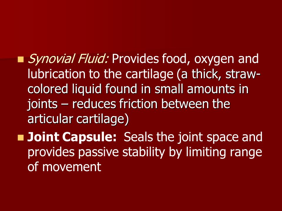 Synovial Fluid: Provides food, oxygen and lubrication to the cartilage (a thick, straw-colored liquid found in small amounts in joints – reduces friction between the articular cartilage)