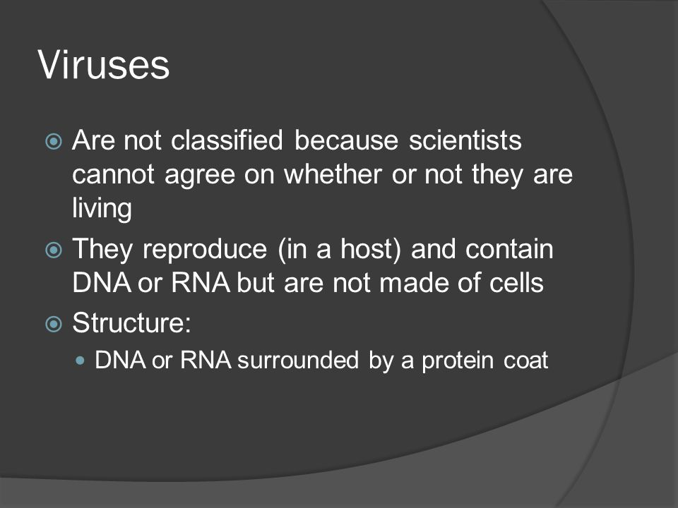 Viruses Are not classified because scientists cannot agree on whether or not they are living.