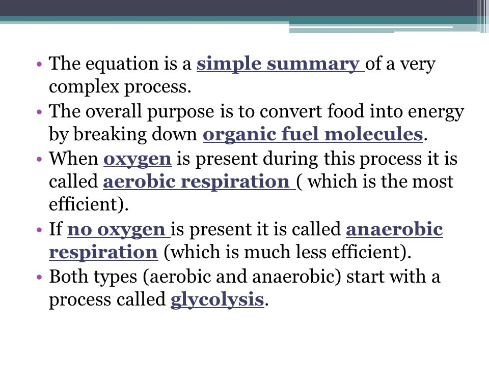 The equation is a simple summary of a very complex process.
