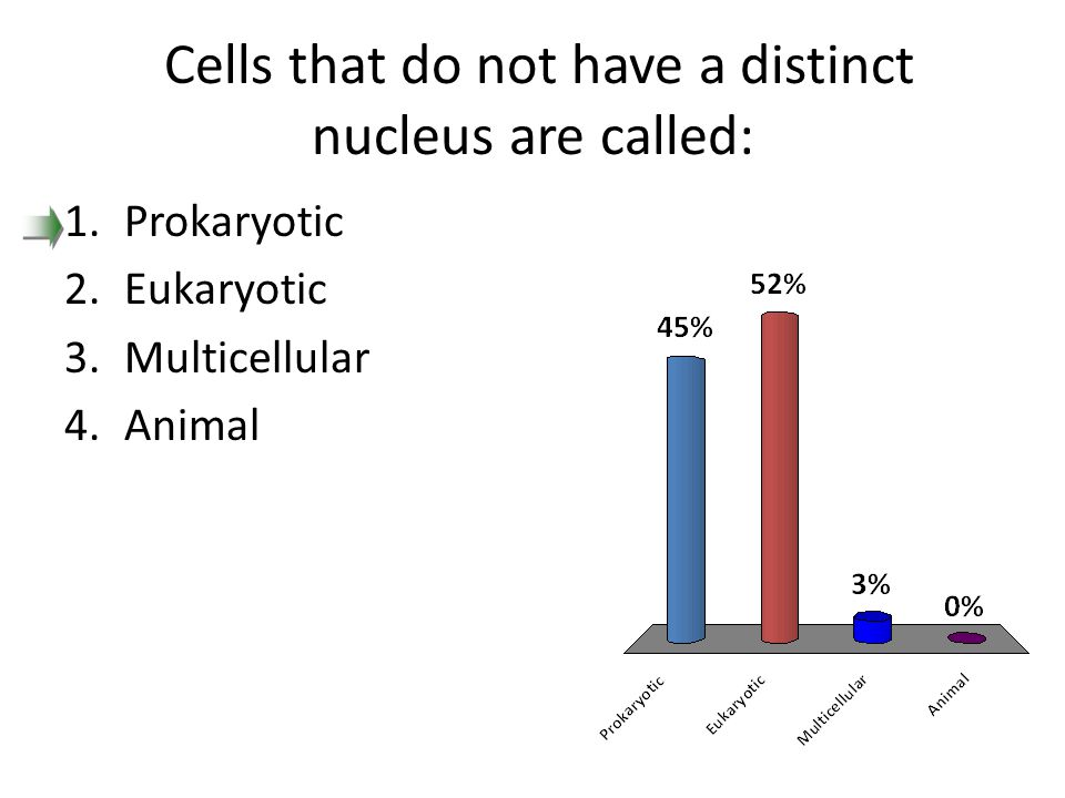 Cells that do not have a distinct nucleus are called: