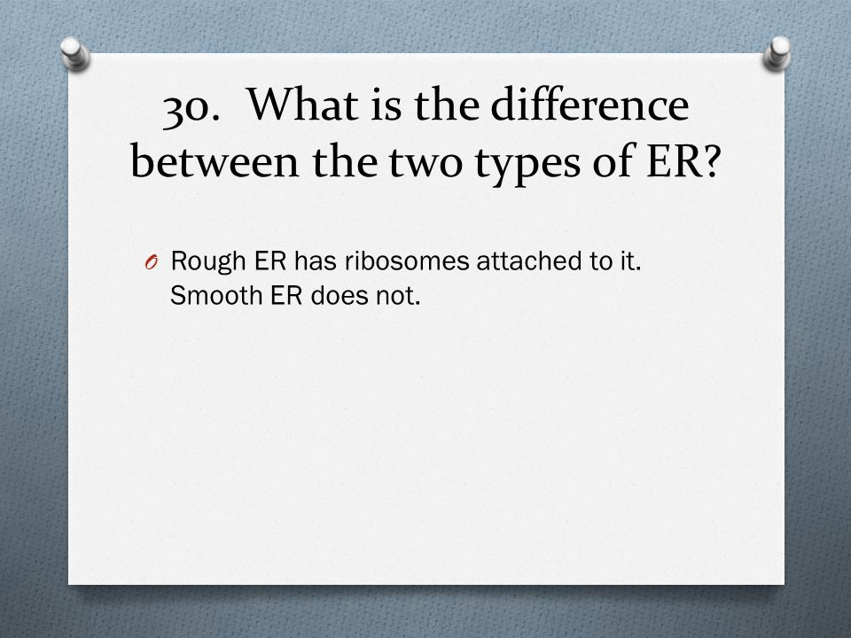 30. What is the difference between the two types of ER