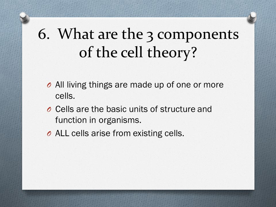 6. What are the 3 components of the cell theory